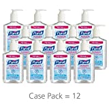 PURELL Advanced Hand Sanitizer, Refreshing Gel, 8 fl oz Hand Sanitizer Counter Top Pump Bottles (Case of 12) – 9652-12