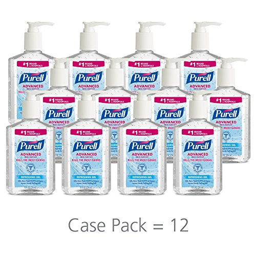 PURELL Advanced Hand Sanitizer, Refreshing Gel, 8 fl oz Hand Sanitizer Counter Top Pump Bottles (Case of 12) – 9652-12 ()