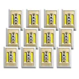 Promier Battery Operated Cordless LED Light Switch, Under Cabinet, Shelf, Baby Nursery, Hallways, Bedrooms, Closets, RV's, Batteries Included! (Pack of 12)
