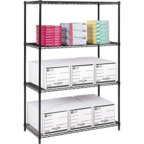 Safco Industrial Wire Shelving - 48quot; x 24quot; x 72quot; - Steel - 4 x Shelf(VES) - Adjustable Glide, Durable - Black ()