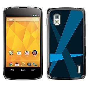 TopCaseStore / la caja del caucho duro de la cubierta de protección de la piel - Blue Lines Pastel Minimalist - LG Google Nexus 4 E960
