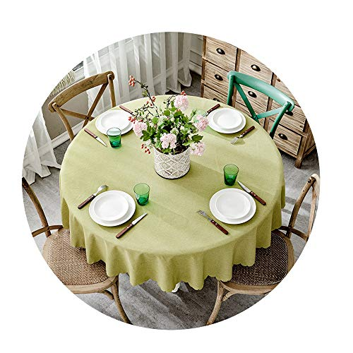 (COOCOl Table Cover Round Wedding Party Hotel Table Cloth Cotton Linen Nordic Solid Tablecloths Home Decor,D,Diameter 260Cm)