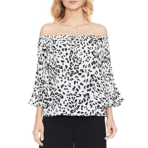 VINCE CAMUTO Womens Animal Print Pleated Sleeves Blouse Black-Ivory M