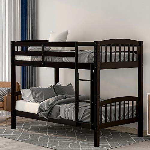 Merax-Wood-Bunk-Bed-Twin-Over-Twin-Bunk-Bed-Frame-with-Ladder-Espresso
