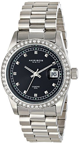 Akribos XXIV Men's AK488SSB Quartz Movement Watch with Glossy Black Dial and Stainless Steel Bracelet (Dial Glossy Black)