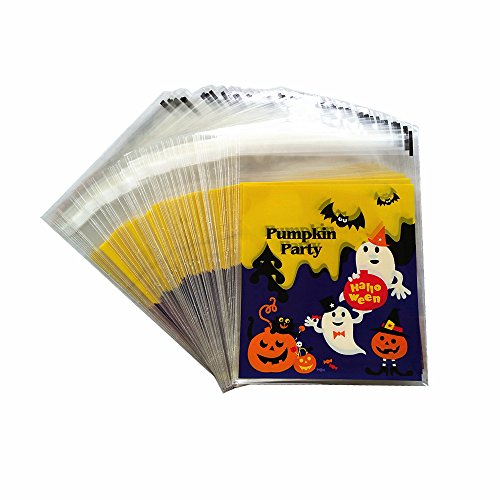 Yunko 100pcs Halloween Pumpkin Cookie Packaging Self-adhesive Plastic Bags for Biscuits Cake Baking Package -