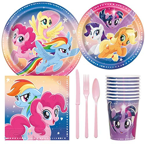 MLP My Little Pony Birthday Party Supplies Pack Including Cake & Lunch Plates, Cutlery, Cups & Napkins for 8 -