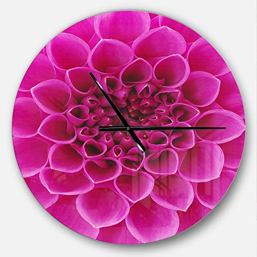 (Designart Large Pink Flower and Petals' Oversized Floral Metal Clock, Circle Wall Decoration Art, 23x23 Inches)