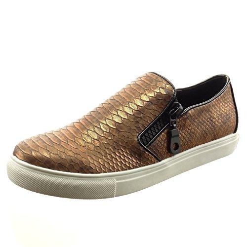 Sopily - Chaussures Mode Sneaker Slip-on Cheville Femme Snakeskin Zip Bloc Talon 2.5 Cm - Kaki