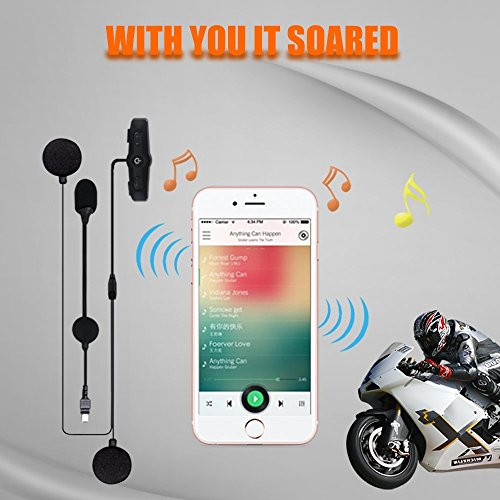 Motorcycle Bluetooth 4.1 Helmet Headset - SCS ETC S-7 Motorcycle Helmet Intercom Communication Systems Kit, Handsfree Calls Voice Command with Speakers Headphones for Motorbike Skiing