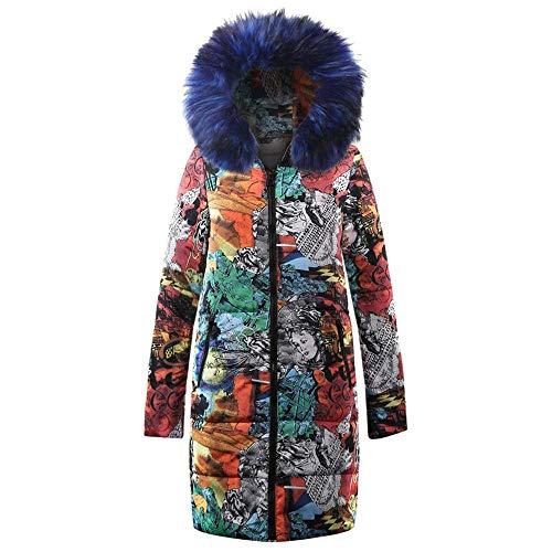 Piumino Inverno Moda Da Stampa Con Cappuccio Trapuntato Cotone Blau Giacca Floreale Parka Cappotto Vintage In Trapuntata Donna Lunga Capispalla Abbigliamento OPkZiulwXT