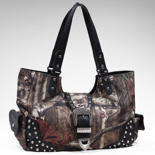 Mossy Oak Studded Camouflage Shoulder Bag w/ Rhinestone Buckle -Camouflage/Black, Bags Central