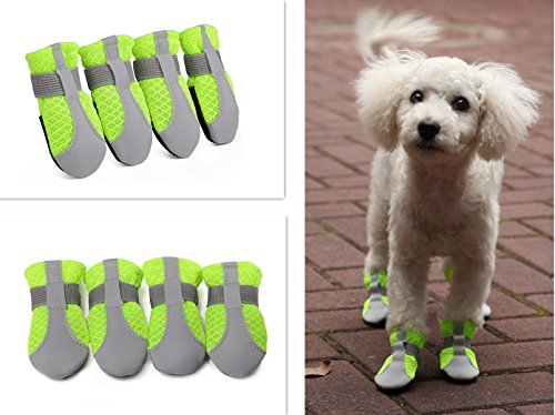 Hdwk&Hped Summer Dog Paw Protector Dog Booties, Breathable Mesh Flexible Velcro Strap Anti-slip PU Sole Dog Walking Shoes Dog Boots for Small Dog Puppy Cat, Green, Sizes #40-#55 (#40) by Hdwk&Hped