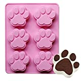 CHICHIC Dog Bear Paw Silicone Baking Pan Ice Cube Tray Soap Mold, Pink, Set of 2