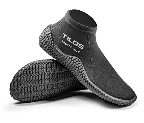 Tilos TruFit Dive Boots, First Truly Ergonomic Dive Boots, Available in 3mm Short, 3mm Titanium, 5mm Titanium, 5mm Thermowall, 7mm Titanium (Men 7 / Women 8, 3mm Short Beach -