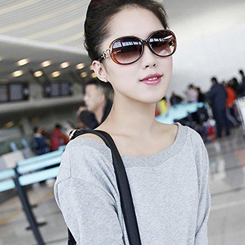 de de gafas sol Brown 219 gran retro gafas gafas WeiMay sol mujeres de sol de moda protección tamaño de UV HOx5Hw8qC6