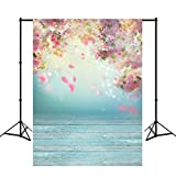 Mehofoto 5X7ft Polyester Flowers Photography Backdrops Pink Flower Wood Floor Photo Background Studio Props