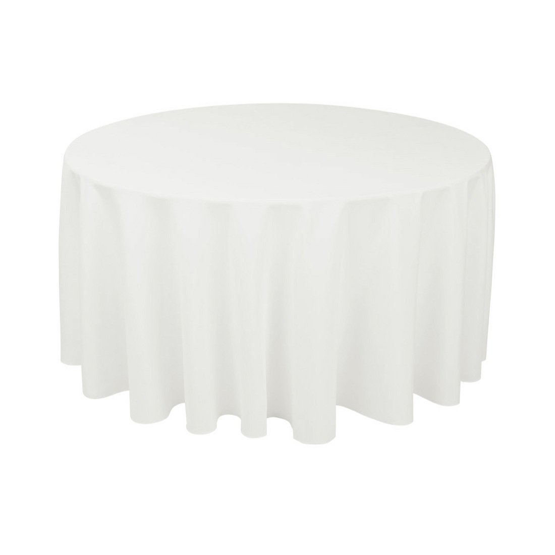 "Craft & Party Polyester Tablecloth 120"" Round (White)"