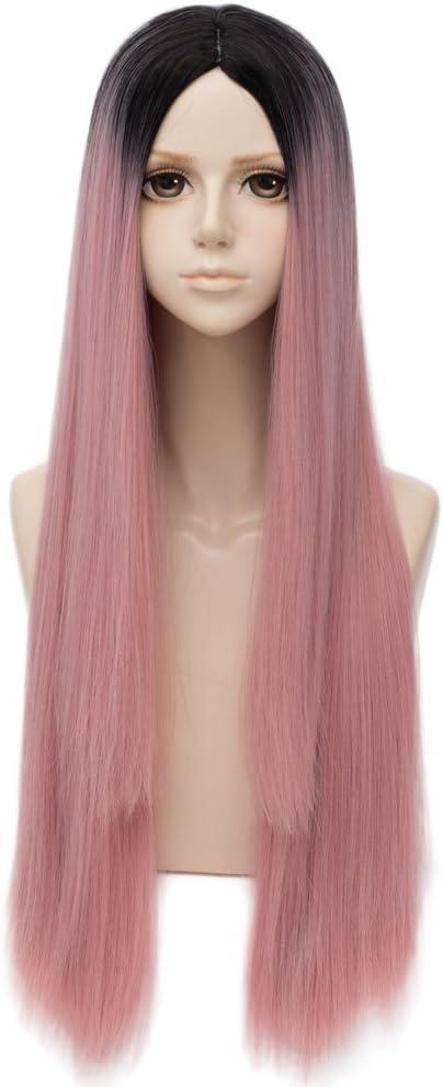 Falamka longue perruque rose droite avec perruque cosplay femme noire