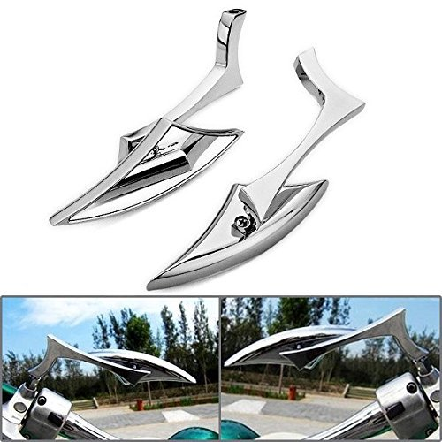 Astra Depot Motorcycle Chrome Spear Blade Mini Side Mirrors for Harley Davidson Sportster Dyna Softail ()