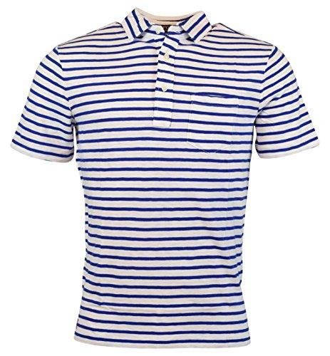 (Polo Ralph Lauren Men's Striped Jersey Polo Shirt, White/Deep Royal (Large))