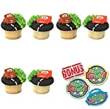 Cars Mater & Lightning McQueen Cupcake Toppers and Bonus Birthday Ring - 25 piece