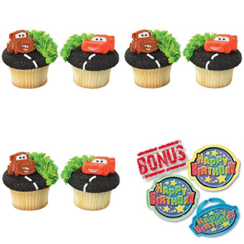 Cars Mater & Lightning McQueen Cupcake Toppers and Bonus Birthday Ring - 25 piece ()