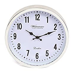 Westminster Wall Clock - 12 Inch - Easy to Read Large Wall Clock for Your Living Room, Kitchen, Bathroom, or Office – Clear Glass Face and Lightweight Body - Silver/White