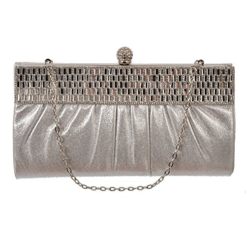 Women's Faux Leather Clutch with Rhinestone-Studded Band by Crystale Jewellery Silver