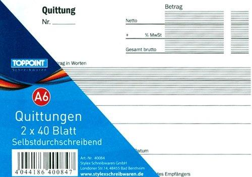 Quittungsblock selbstdurchschreibend, DIN A 6 quer, 2 x 40 Blatt (je 1 Original und 1 Kopie). Stabiler Einband.