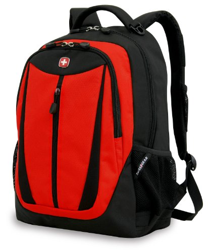 Swiss Gear SA3077 Black with Red Lightweight Laptop Backpack - Fits Most 15 Inch Laptops and - Swiss Backpack Small Gear