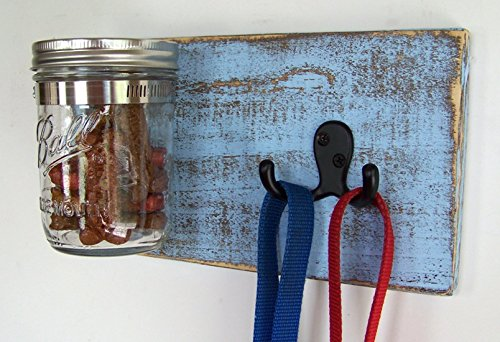 Dog Accessories by Out Back Craft Shack: Farmhouse Decor Dog Treat Jar and Leash Hooks – many colors (Painted Hand Leash Wooden Holder)