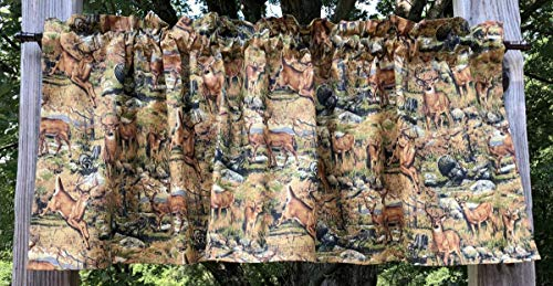 Pocket Rod Lodge Drapes (Wildlife Deer Turkey Raccoon Autumn Nature Woodland Scenes Handcrafted Valance)