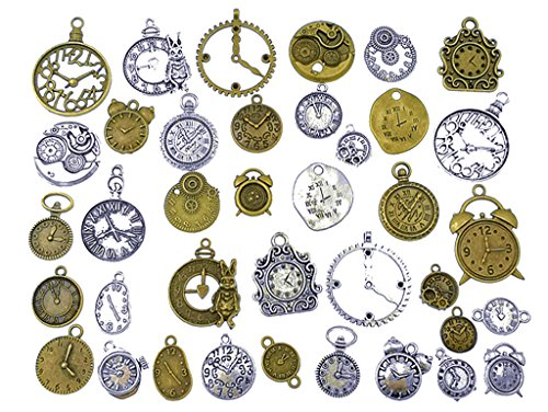 (36pcs Clock and Watch Dial Face Movement Charm Alloy Multistyle Steampunk Pendant Connector for DIY Jewelry Making Accessaries by Alimitopia(Antique Silver&Bronze))