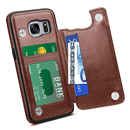 HianDier Wallet Case for Galaxy S7, Slim Protective Case with Credit Card Slot Holder Flip Folio Soft PU Leather Magnetic Closure Cover Case Compatible with Samsung Galaxy S7, Brown