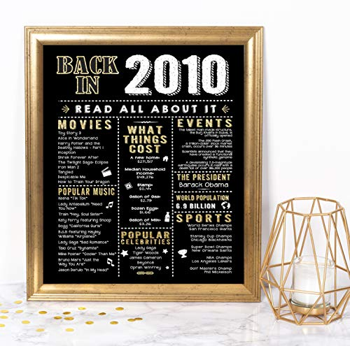 Katie Doodle 10th Birthday Decorations Party Supplies Gifts for 10 Year Old Boy Girl | Includes 8x10 Back in 2010 Sign [Unframed], BD010, Black & Gold