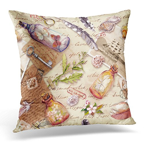 Breezat Throw Pillow Cover Vintage with Retro Design Old Feathers Sea Shells Glass Bottles Flowers Notes Watercolor Keys Pattern Decorative Pillow Case Home Decor Square 18x18 Inches Pillowcase