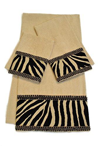 Sherry Kline Zuma 3-Piece Decorative Embellished Towel Set, Taupe