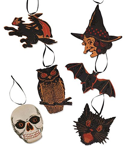 Bethany Lowe Vintage Halloween Image Pressed Paper Ornaments Set of 6 Designs LC2922