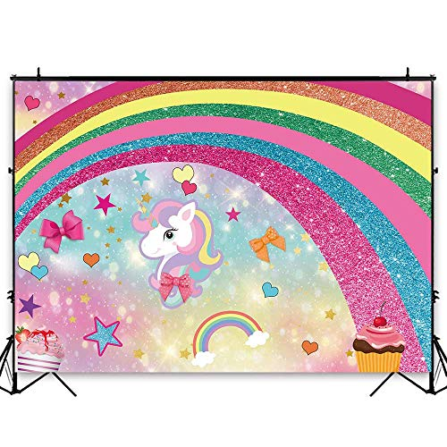Funnytree 7x5ft Magic Unicorn Theme Party Backdrop Rainbow Bokeh Glitter Princess Girl Baby Shower Birthday Photography Background Cartoon Little Star Bowknot Cake Table Decoration Banner Photo Booth]()