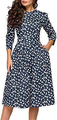 Simple Flavor Women's Floral Vintage Dress Elegant Midi Evening Dress 3/4 Sle