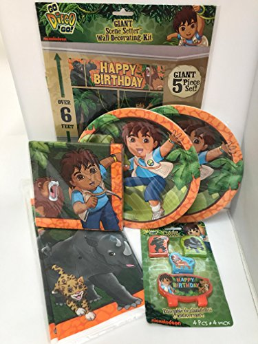Nickelodeon Go Diego Go Birthday Party Supplies, Diego Plates, Diego Napkins, Diego Table Covering, Diego Scene Setter, Pack For (Go Diego Go Birthday Party)