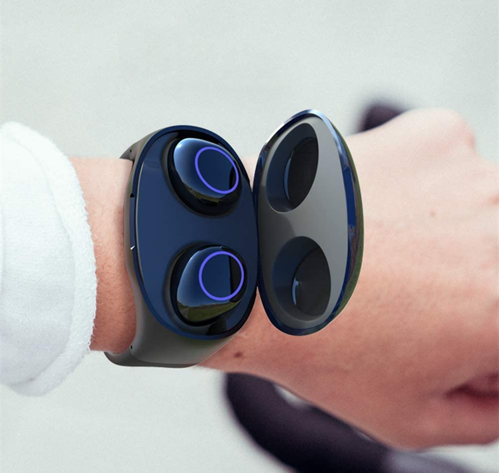 Wireless Earbuds Bracelet Bluetooth Headset, Waterproof Portable Mini Watch Shape Bluetooth Earphones, True Wireless Bluetooth 5.0 Earbuds, Magnetic Charging Invisible Wireless Earbuds