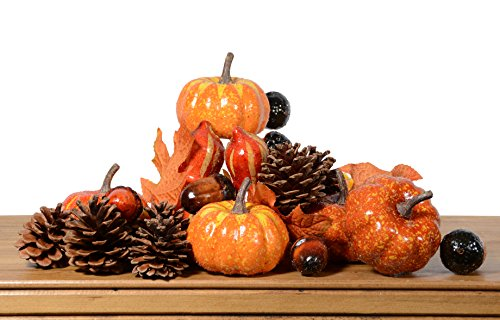 Artificial Gourds, Pumpkins and Nuts in Beaded Finish- Fall Bowl Filler