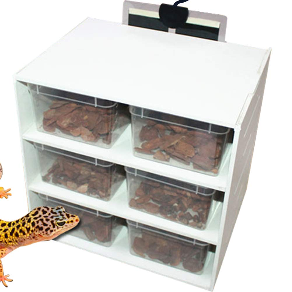 MOCOHANA Reptile Terrarium Cage with 6 Breeding Boxes and Reptile Heat Pad PVC Breeding Tank for Insect Lizards…