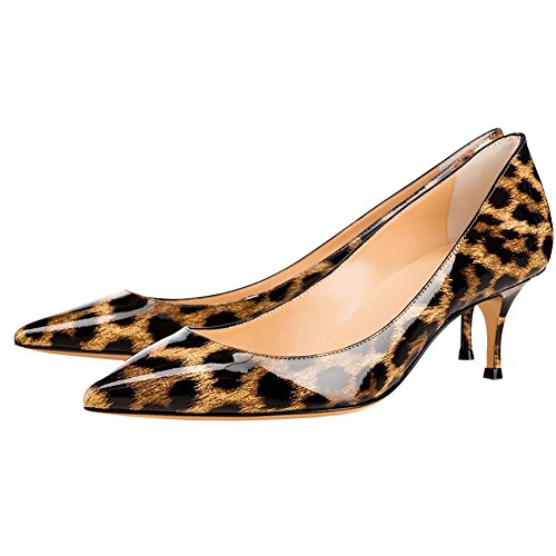 con Leopardo Lavoro da in a Gattino Pelle di Scarpe Tacco 6CM Donna Punta da Verniciata EKS a Punta PqFwTF
