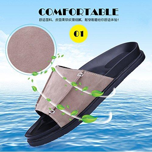 Nuevos estudiantes grandes de los deslizadores los sistemas inferiores gruesos antideslizantes de los pies forman a nuevos deslizadores frescos del ocio varón. Marrón .UK = 6.UR = 39