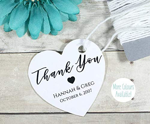 (Personalized White Wedding Favor Tags - Custom Heart Shaped Tags with Thank You (Set of 20))