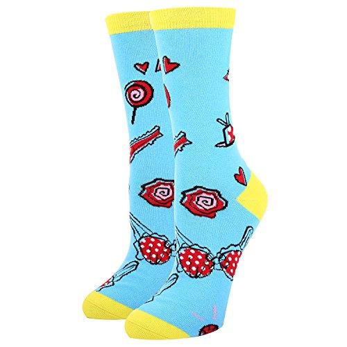 y Sexy Crew Dress Socks,Fun Hats Bra Patterned Socks in Blue ()