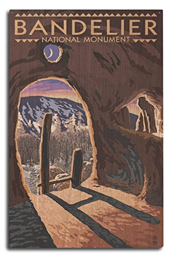 (Lantern Press Bandelier National Monument, New Mexico - Twilight View (10x15 Wood Wall Sign, Wall Decor Ready to Hang))